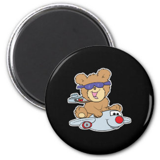 vacation teddy bear in plane 2 inch round magnet