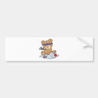 vacation teddy bear in plane car bumper sticker