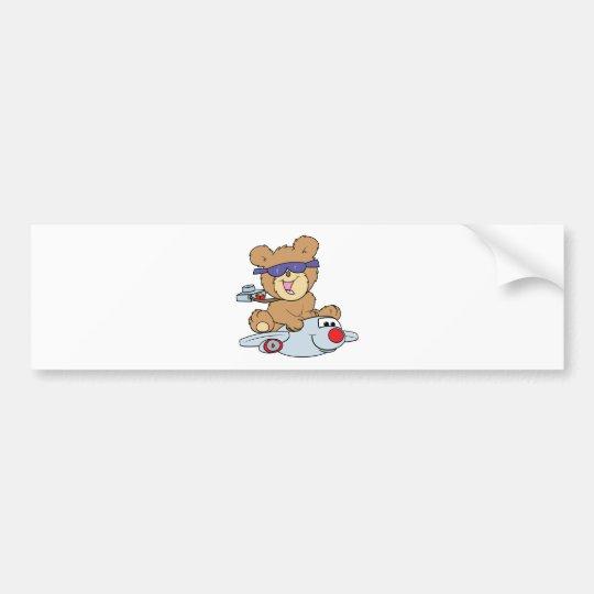 vacation teddy bear in plane bumper sticker