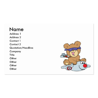 vacation teddy bear in plane business card