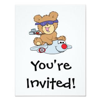 vacation teddy bear in plane card