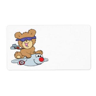 vacation teddy bear in plane label