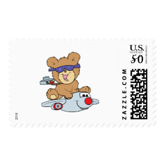vacation teddy bear in plane postage