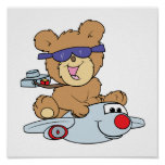 vacation teddy bear in plane posters
