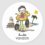 Vacation Time - Girls Classic Round Sticker
