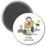 Vacation Time - Girls Fridge Magnet