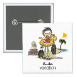 Vacation Time - Girls Pinback Buttons