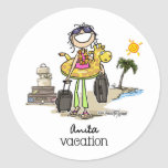 Vacation Time - Girls Round Stickers