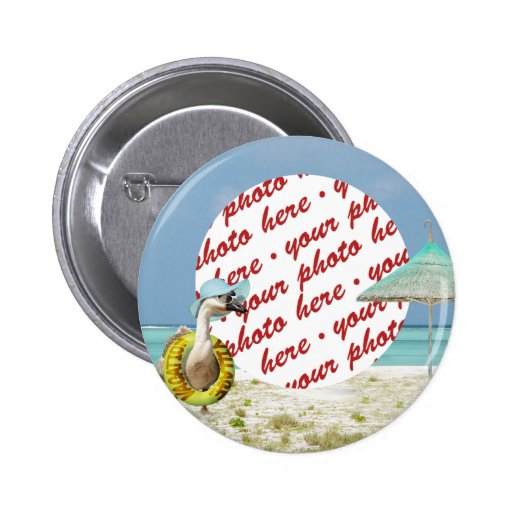 Vacation Time Goose Beach Scene Photo Frame Pinback Button