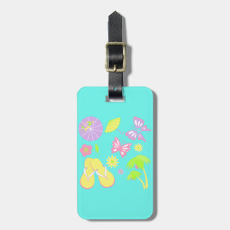 Vacation Travel Butterfly Blue Luggage Tag