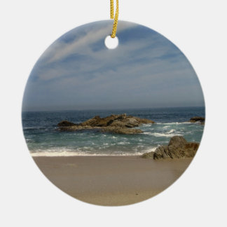 Vacation View Double-Sided Ceramic Round Christmas Ornament