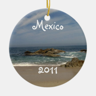 Vacation View; Mexico Souvenir Double-Sided Ceramic Round Christmas Ornament