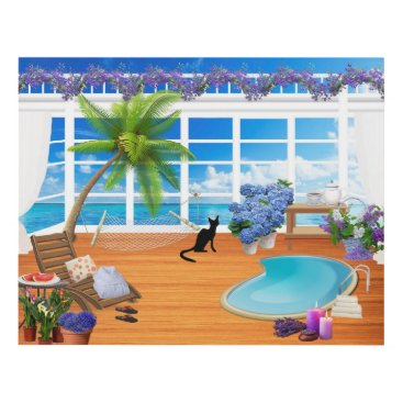 Beach Themed VACATION WALL ART PANEL, CUTE SPA CAT, PALM TREES