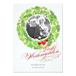Vacation wreath family photo map card