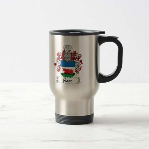Vacca Family Crest 15 Oz Stainless Steel Travel Mug