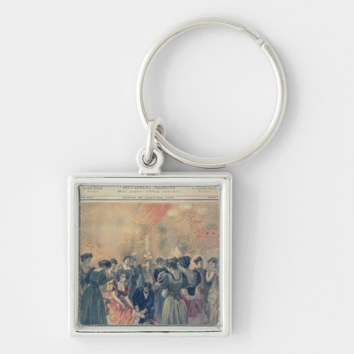 Vaccination at an Evening Reception Silver-Colored Square Keychain