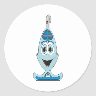 Vaccum Cartoon Blue Classic Round Sticker