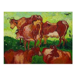 Vaches de Les de Vincent van Gogh Postales