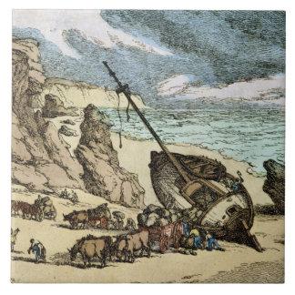 Vaciamiento de una ruina en la costa del norte de azulejos cerámicos