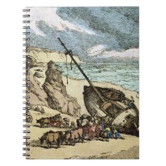 Vaciamiento de una ruina en la costa del norte de  libros de apuntes con espiral