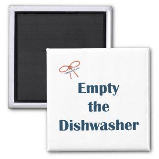 Vacie el imán del recordatorio del lavaplatos