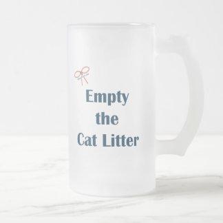 Vacie los recordatorios de la arena para gatos tazas de café