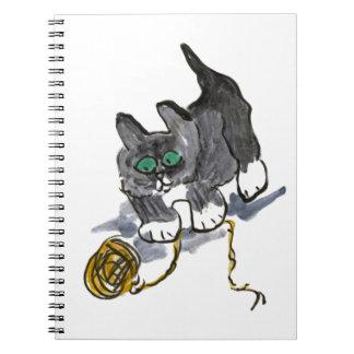 Vacilación del hilado por el gatito nervioso libro de apuntes