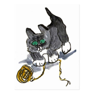 Vacilación del hilado por el gatito nervioso postales