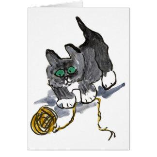 Vacilación del hilado por el gatito nervioso tarjeta de felicitación