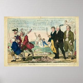 Vacunación contra dibujo animado político de la vi póster