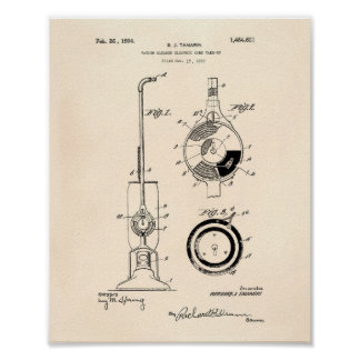 Vacuum Cleaner 1924 Patent Art Old Peper Poster