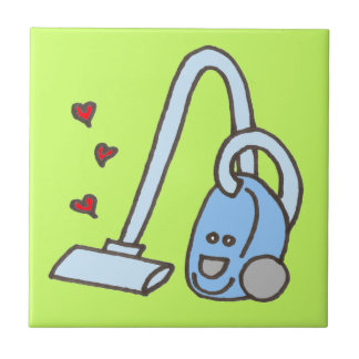 Vacuum Cleaner with Hearts Ceramic Tile