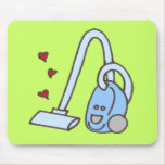 Vacuum Cleaner with Hearts Mouse Pad
