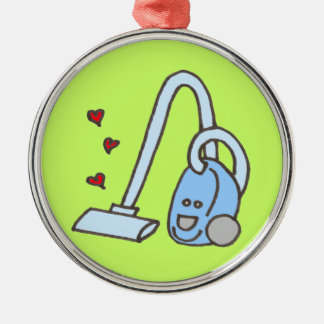 Vacuum Cleaner with Hearts Round Metal Christmas Ornament