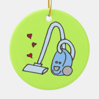 Vacuum Cleaner with Hearts Double-Sided Ceramic Round Christmas Ornament
