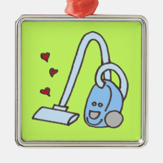 Vacuum Cleaner with Hearts Square Metal Christmas Ornament