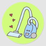 Vacuum Cleaner with Hearts Round Stickers