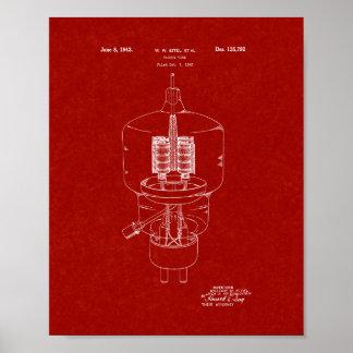 Vacuum Tube Patent - Burgundy Red Poster