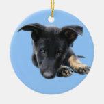 Vader, perrito del pastor alemán del negro ornamentos de navidad