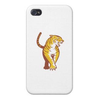Vagabundeo del tigre retro iPhone 4 carcasa