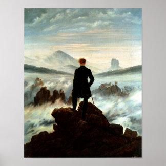 Vagabundo sobre el mar de la niebla - Friedrich Póster