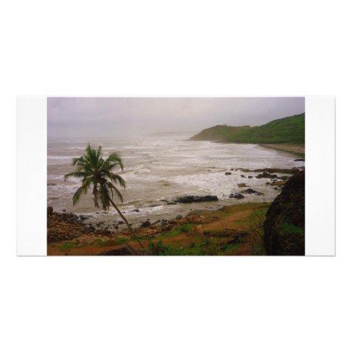 Vagator beach photo greeting card