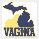 Vagina de Michigan Pegatina Cuadradas