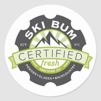 Vago certificado del esquí pegatina redonda