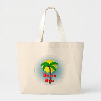 Vago de la playa con la palmera bolsa tela grande