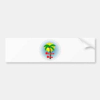 Vago de la playa con la palmera etiqueta de parachoque