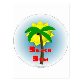 Vago de la playa con la palmera tarjeta postal