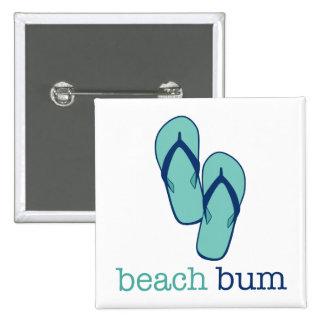 Vago de la playa de los flips-flopes pin cuadrado