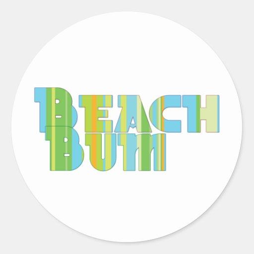 Vago de la playa etiquetas redondas