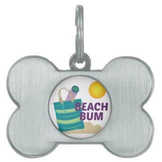 Vago de la playa placas de nombre de mascota